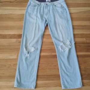 PAIGE Distressed Light Blue Jeans
